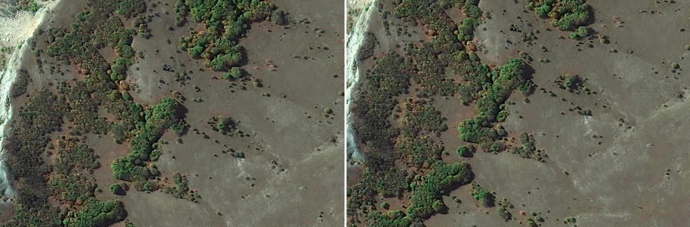 Смещенные изображения местности